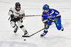 Syracuse Cougars Philip Zollo (8) checking West Genesee Wildcats Ryan Washo (5) in the Section III, Division I Boys Ice Hockey Championship game at the War Memorial Arena in Syracuse, New York on Monday, February 25, 2019.  Syracuse won 3-2 in 4OT.