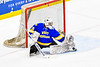 West Genesee Wildcats goalie Chris Wells (31) makes a save against the Syracuse Cougars in the Section III, Division I Boys Ice Hockey Championship game at the War Memorial Arena in Syracuse, New York on Monday, February 25, 2019.  Syracuse won 3-2 in 4OT.