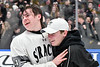Syracuse Cougars players celebrate defeating the West Genesee Wildcats in the Section III, Division I Boys Ice Hockey Championship game at the War Memorial Arena in Syracuse, New York on Monday, February 25, 2019.  Syracuse won 3-2 in 4OT.