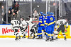 Syracuse Cougars Ryan Eccles (23) celebrates his overtime winning goal against the West Genesee Wildcats in the Section III, Division I Boys Ice Hockey Championship game at the War Memorial Arena in Syracuse, New York on Monday, February 25, 2019.  Syracuse won 3-2 in 4OT.