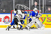 West Genesee Wildcats goalie Chris Wells (31) in net against the Syracuse Cougars in the Section III, Division I Boys Ice Hockey Championship game at the War Memorial Arena in Syracuse, New York on Monday, February 25, 2019.  Syracuse won 3-2 in 4OT.