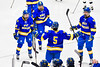 West Genesee Wildcats Ryan Washo (5) celebrates his goal against the Syracuse Cougars in the Section III, Division I Boys Ice Hockey Championship game at the War Memorial Arena in Syracuse, New York on Monday, February 25, 2019.  Syracuse won 3-2 in 4OT.