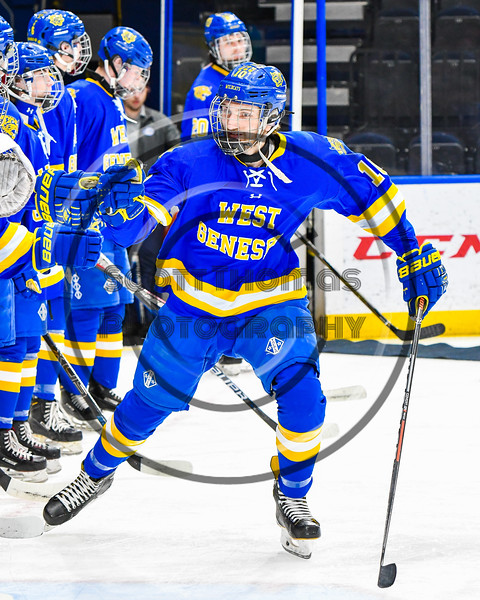 West Genesee Wildcats Jake Farrell (10) being introduced before playing the Syracuse Cougars in the Section III, Division I Boys Ice Hockey Championship game at the War Memorial Arena in Syracuse, New York on Monday, February 25, 2019.