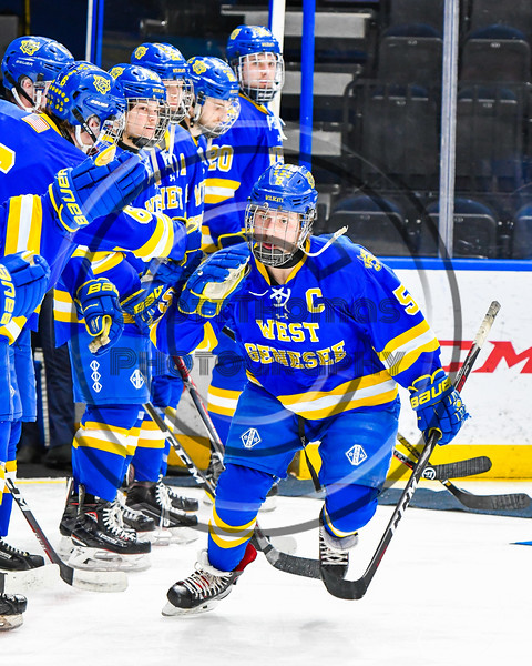 West Genesee Wildcats Ryan Washo (5) being introduced before playing the Syracuse Cougars in the Section III, Division I Boys Ice Hockey Championship game at the War Memorial Arena in Syracuse, New York on Monday, February 25, 2019.