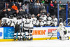 Syracuse Cougars players await the first overtime against the West Genesee Wildcats in the Section III, Division I Boys Ice Hockey Championship game at the War Memorial Arena in Syracuse, New York on Monday, February 25, 2019.  Syracuse won 3-2 in 4OT.