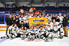 Syracuse Cougars celebrating their NYSPHSAA Section III Division I Boys Ice Hockey Championship at the War Memorial Arena in Syracuse, New York on Monday, February 25, 2019.