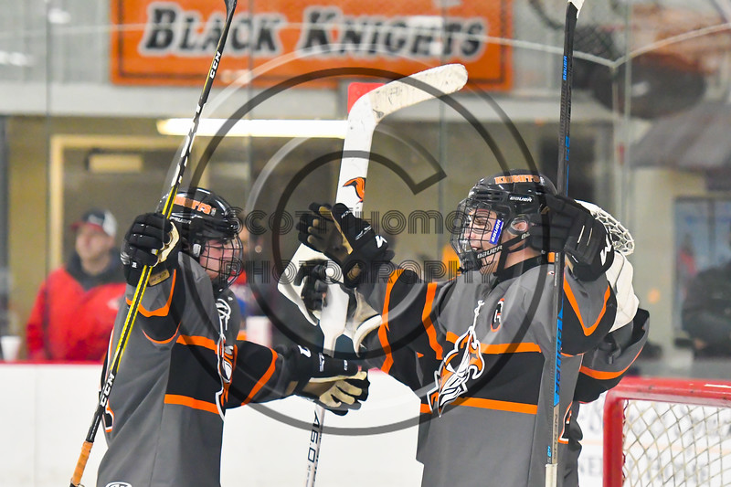 Rome Free Academy Black Knights players celebrate their win over the Baldwinsville Bees in NYSPHSAA Section III Boys Ice hockey action at John F. Kennedy Civic Arena in Rome, New York on Tuesday, January 15, 2019. Rome Free Academy won 4-1.