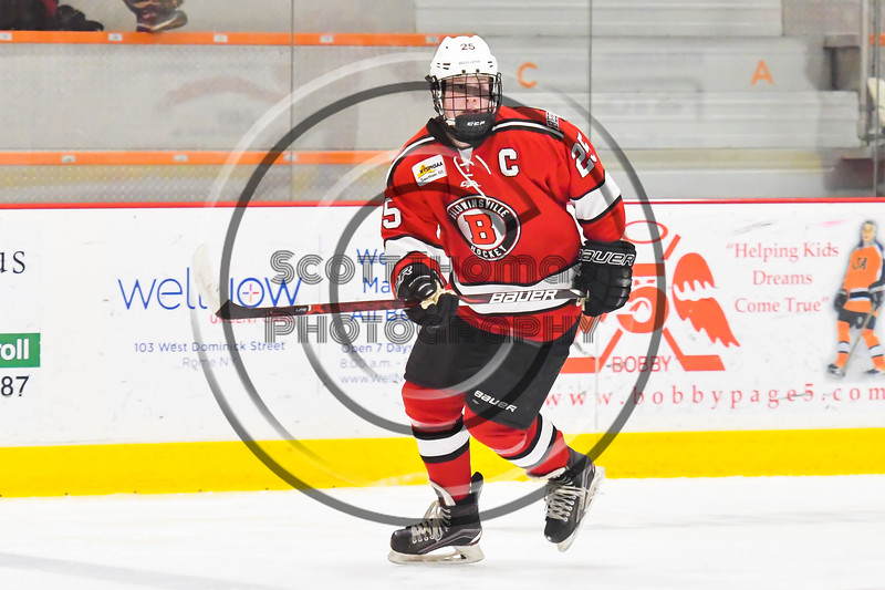 Baldwinsville Bees Jamey Natoli (25) playing against the Rome Free Academy Black Knights in NYSPHSAA Section III Boys Ice hockey action at John F. Kennedy Civic Arena in Rome, New York on Tuesday, January 15, 2019. Rome Free Academy won 4-1.