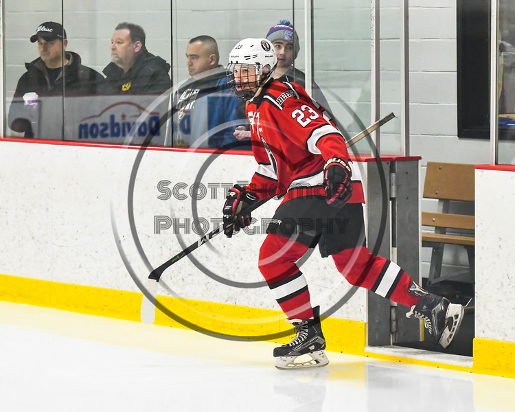 Baldwinsville Bees Braden Lynch (23) takes the ice to play the Rome Free Academy Black Knights in a NYSPHSAA Section III Boys Ice hockey game at John F. Kennedy Civic Arena in Rome, New York on Tuesday, January 15, 2019.