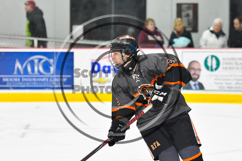 Rome Free Academy Black Knights Kyle Lubey (3) playing against the Syracuse Crunch in NYSPHSAA Section III Boys Ice hockey action at John F. Kennedy Civic Arena in Rome, New York on Tuesday, January 15, 2019. Rome Free Academy won 4-1.