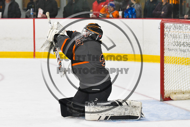 Rome Free Academy Black Knights Isaiah Nebush (30) makes a save against the Baldwinsville Bees in NYSPHSAA Section III Boys Ice hockey action at John F. Kennedy Civic Arena in Rome, New York on Tuesday, January 15, 2019. Rome Free Academy won 4-1.
