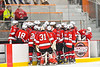 Baldwinsville Bees players huddle up around Assistant Coach Glenn McCaffrey during a time out against the Rome Free Academy Black Knights in NYSPHSAA Section III Boys Ice hockey action at John F. Kennedy Civic Arena in Rome, New York on Tuesday, January 15, 2019. Rome Free Academy won 4-1.