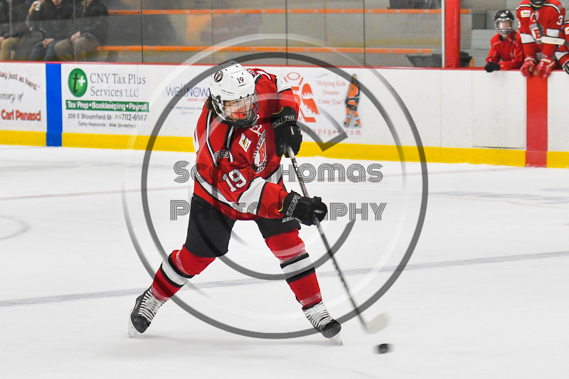 Baldwinsville Bees Michael Marsallo (19) fires the puck at the Rome Free Academy Black Knights net in NYSPHSAA Section III Boys Ice hockey action at John F. Kennedy Civic Arena in Rome, New York on Tuesday, January 15, 2019. Rome Free Academy won 4-1.