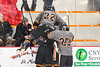 Rome Free Academy Black Knights players celebrate a goal against the Baldwinsville Bees in NYSPHSAA Section III Boys Ice hockey action at John F. Kennedy Civic Arena in Rome, New York on Tuesday, January 15, 2019. Rome Free Academy won 4-1.