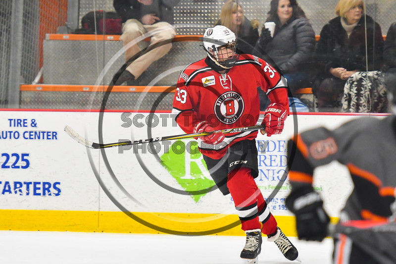 Baldwinsville Bees Christian Treichler (33) playing against the Rome Free Academy Black Knights in NYSPHSAA Section III Boys Ice hockey action at John F. Kennedy Civic Arena in Rome, New York on Tuesday, January 15, 2019. Rome Free Academy won 4-1.