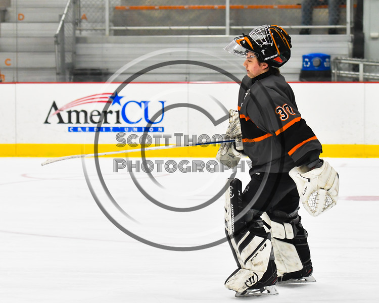 Rome Free Academy Black Knights goalie Isaiah Nebush (30) being introduced before playing the Baldwinsville Bees in a NYSPHSAA Section III Boys Ice hockey game at John F. Kennedy Civic Arena in Rome, New York on Tuesday, January 15, 2019.
