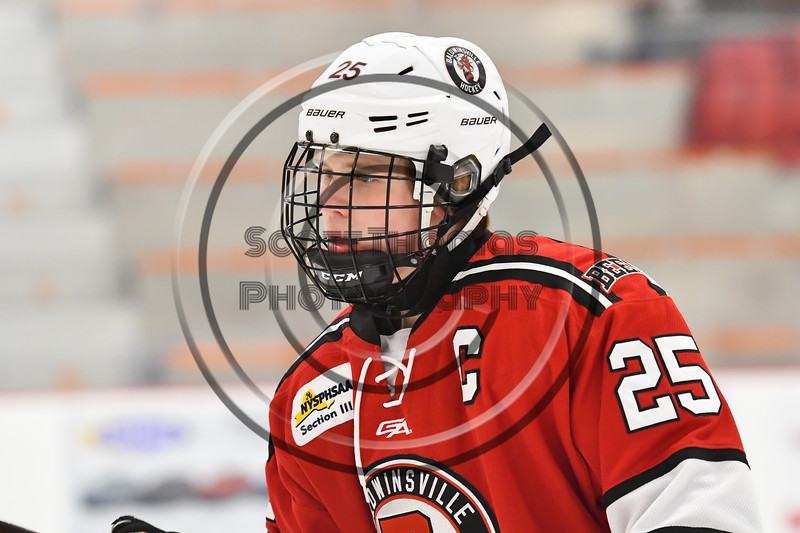 Baldwinsville Bees Jamey Natoli (25) warming up before playing the Rome Free Academy Black Knights in a NYSPHSAA Section III Boys Ice hockey game at John F. Kennedy Civic Arena in Rome, New York on Tuesday, January 15, 2019.