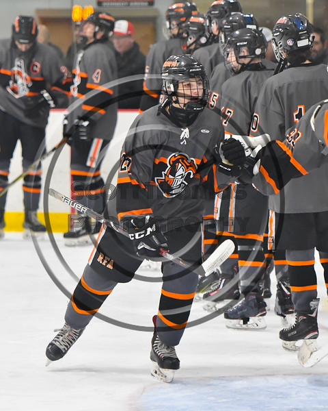 Rome Free Academy Black Knights Derek Millington (20) being introduced before playing the Baldwinsville Bees in a NYSPHSAA Section III Boys Ice hockey game at John F. Kennedy Civic Arena in Rome, New York on Tuesday, January 15, 2019.