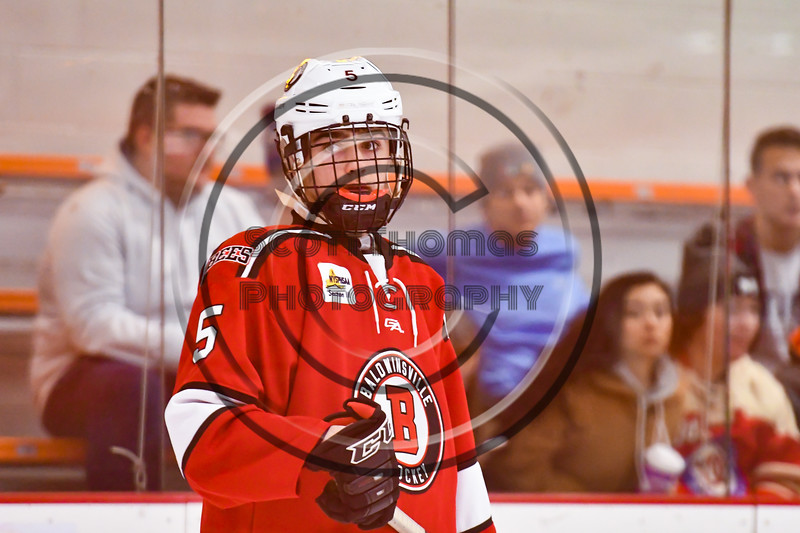 Baldwinsville Bees Alexander Pompo (5) warming up before playing the Rome Free Academy Black Knights in a NYSPHSAA Section III Boys Ice hockey game at John F. Kennedy Civic Arena in Rome, New York on Tuesday, January 15, 2019.