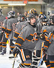 Rome Free Academy Black Knights Michael Bostwick (4) being introduced before playing the Baldwinsville Bees in a NYSPHSAA Section III Boys Ice hockey game at John F. Kennedy Civic Arena in Rome, New York on Tuesday, January 15, 2019.