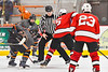 Baldwinsville Bees Alexander Pompo (5) facing off against the Rome Free Academy Black Knights in NYSPHSAA Section III Boys Ice hockey action at John F. Kennedy Civic Arena in Rome, New York on Tuesday, January 15, 2019. Rome Free Academy won 4-1.
