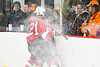 Baldwinsville Bees Cameron Sweeney (21) checks a Rome Free Academy Black Knights player in NYSPHSAA Section III Boys Ice hockey action at John F. Kennedy Civic Arena in Rome, New York on Tuesday, January 15, 2019. Rome Free Academy won 4-1.