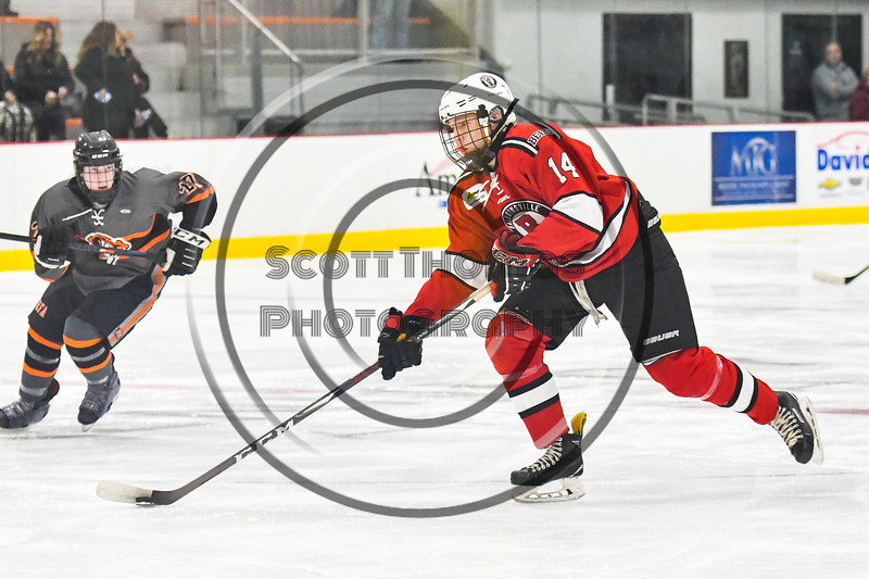 Baldwinsville Bees Nick Glamos (14) with the puck against the Rome Free Academy Black Knights in NYSPHSAA Section III Boys Ice hockey action at John F. Kennedy Civic Arena in Rome, New York on Tuesday, January 15, 2019. Rome Free Academy won 4-1.