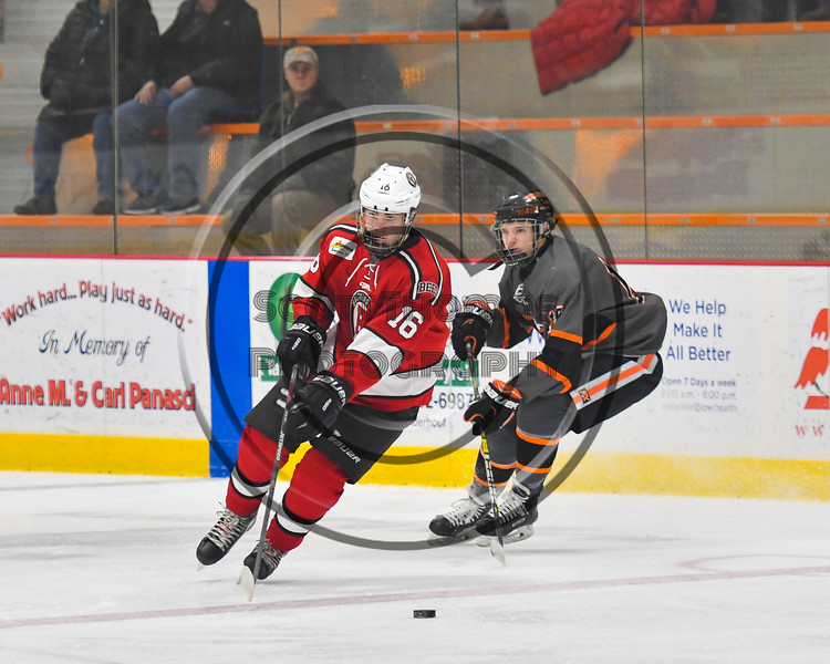 Baldwinsville Bees Luke Hoskin (16) skating with the puck against the Rome Free Academy Black Knights in NYSPHSAA Section III Boys Ice hockey action at John F. Kennedy Civic Arena in Rome, New York on Tuesday, January 15, 2019. Rome Free Academy won 4-1.