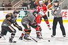 Baldwinsville Bees and Rome Free Academy Black Knights face-off the start the Third Period in NYSPHSAA Section III Boys Ice hockey action at John F. Kennedy Civic Arena in Rome, New York on Tuesday, January 15, 2019. Rome Free Academy won 4-1.