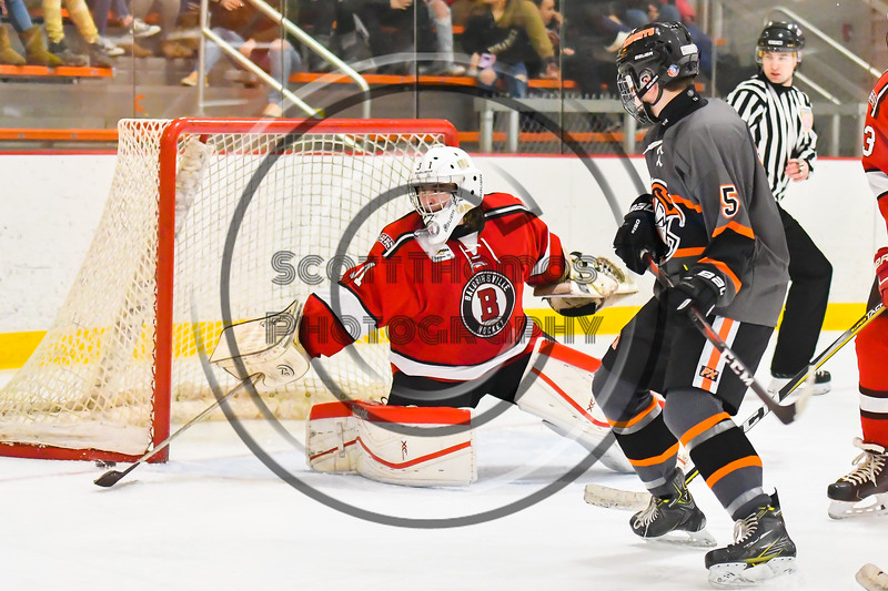 Baldwinsville Bees goalie Tommy Blais (31) sticks aside the puck against the Rome Free Academy Black Knights in NYSPHSAA Section III Boys Ice hockey action at John F. Kennedy Civic Arena in Rome, New York on Tuesday, January 15, 2019. Rome Free Academy won 4-1.