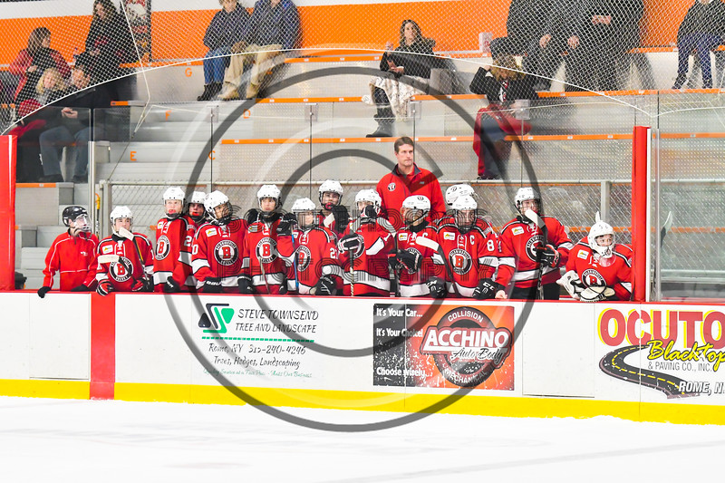 Baldwinsville Bees players bench during the game against the Rome Free Academy Black Knights in the John F. Kennedy Civic Arena in Rome, New York on Tuesday, January 15, 2019. Rome Free Academy won 4-1.