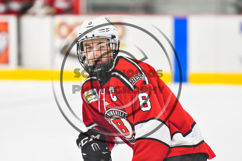 Baldwinsville Bees Parker Schroeder (8) playing against the Rome Free Academy Black Knights in NYSPHSAA Section III Boys Ice hockey action at John F. Kennedy Civic Arena in Rome, New York on Tuesday, January 15, 2019. Rome Free Academy won 4-1.