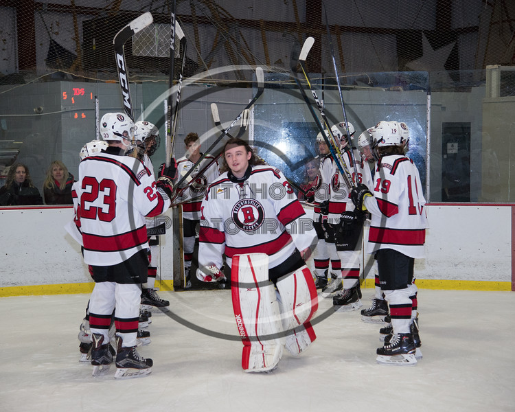 Baldwinsville Bees goalie Tommy Blais (31) being introduced for Senior Night at the Lysander Ice Arena in Baldwinsville, New York on Tuesday, February 5, 2019.