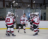 Baldwinsville Bees Christian Treichler (33) being introduced for Senior Night at the Lysander Ice Arena in Baldwinsville, New York on Tuesday, February 5, 2019.