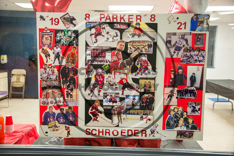Baldwinsville Bees Parker Schroeder (8) Poster for Boys Ice Hockey Senior Night at the Lysander Ice Arena in Baldwinsville, New York on Tuesday, February 5, 2019.