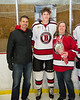 Baldwinsville Bees Christian Treichler (33) and his family on Senior Night at the Lysander Ice Arena in Baldwinsville, New York on Tuesday, February 5, 2019.