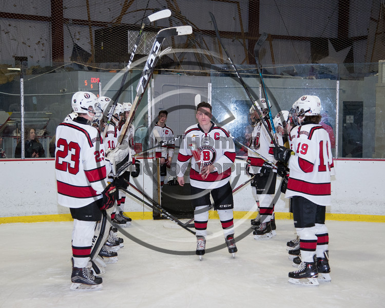 Baldwinsville Bees Parker Schroeder (8) being introduced for Senior Night at the Lysander Ice Arena in Baldwinsville, New York on Tuesday, February 5, 2019.