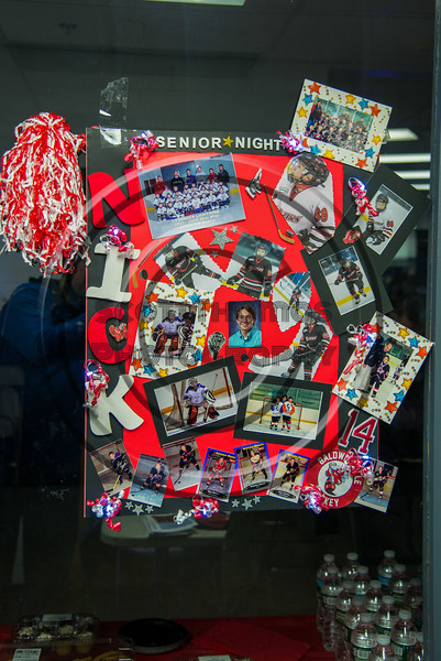 Baldwinsville Bees Nick Glamos (14) Poster for Boys Ice Hockey Senior Night at the Lysander Ice Arena in Baldwinsville, New York on Tuesday, February 5, 2019.