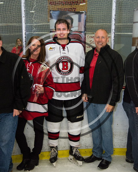 Baldwinsville Bees Ryan Gillespie (7) and his family on Senior Night at the Lysander Ice Arena in Baldwinsville, New York on Tuesday, February 5, 2019.