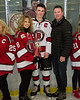 Baldwinsville Bees Parker Schroeder (8) and his family on Senior Night at the Lysander Ice Arena in Baldwinsville, New York on Tuesday, February 5, 2019.
