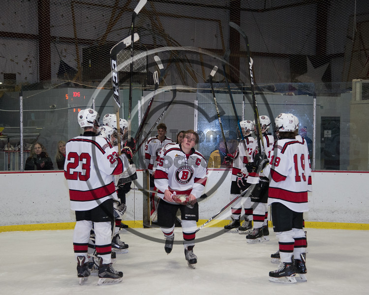 Baldwinsville Bees Jamey Natoli (25) being introduced for Senior Night at the Lysander Ice Arena in Baldwinsville, New York on Tuesday, February 5, 2019.