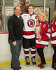 Baldwinsville Bees Jamey Natoli (25) and his family on Senior Night at the Lysander Ice Arena in Baldwinsville, New York on Tuesday, February 5, 2019.