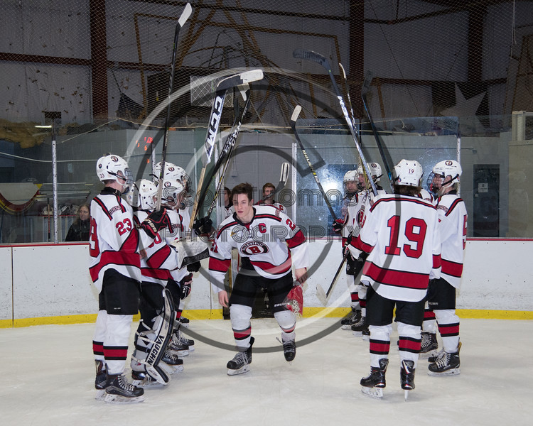 Baldwinsville Bees Cameron Sweeney (21) being introduced for Senior Night at the Lysander Ice Arena in Baldwinsville, New York on Tuesday, February 5, 2019.