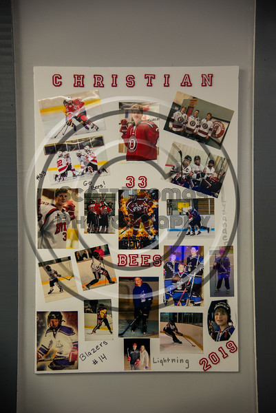 Baldwinsville Bees Christian Treichler (33) Poster for Boys Ice Hockey Senior Night at the Lysander Ice Arena in Baldwinsville, New York on Tuesday, February 5, 2019.
