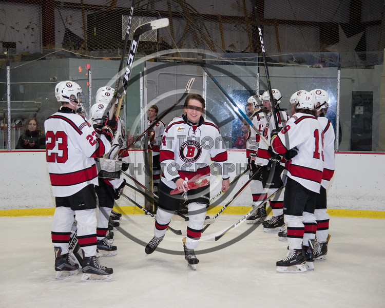 Baldwinsville Bees Nick Glamos (14) being introduced for Senior Night at the Lysander Ice Arena in Baldwinsville, New York on Tuesday, February 5, 2019.