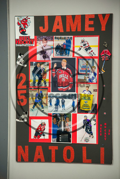 Baldwinsville Bees Jamey Natoli (25) Poster for Boys Ice Hockey Senior Night at the Lysander Ice Arena in Baldwinsville, New York on Tuesday, February 5, 2019.
