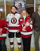 Baldwinsville Bees Nick Glamos (14) and his family on Senior Night at the Lysander Ice Arena in Baldwinsville, New York on Tuesday, February 5, 2019.