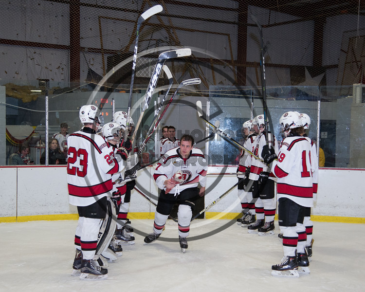 Baldwinsville Bees Ryan Gillespie (7) being introduced for Senior Night at the Lysander Ice Arena in Baldwinsville, New York on Tuesday, February 5, 2019.