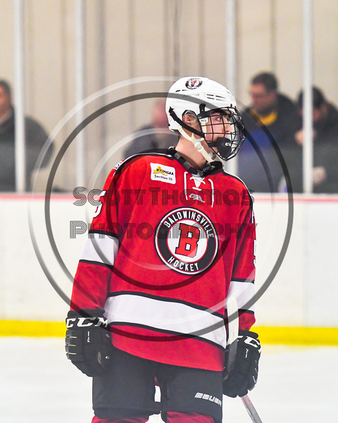Baldwinsville Bees Alexander Pompo (5) being introduced before playing the Liverpool Warriors in a NYSPHSAA Section III Boys Ice hockey game at Lysander Ice Arena in Baldwinsville, New York on Tuesday, December 10, 2019.