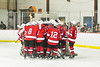 Baldwinsville Bees huddle up before playing the Liverpool Warriors in a NYSPHSAA Section III Boys Ice hockey game at Lysander Ice Arena in Baldwinsville, New York on Tuesday, December 10, 2019.